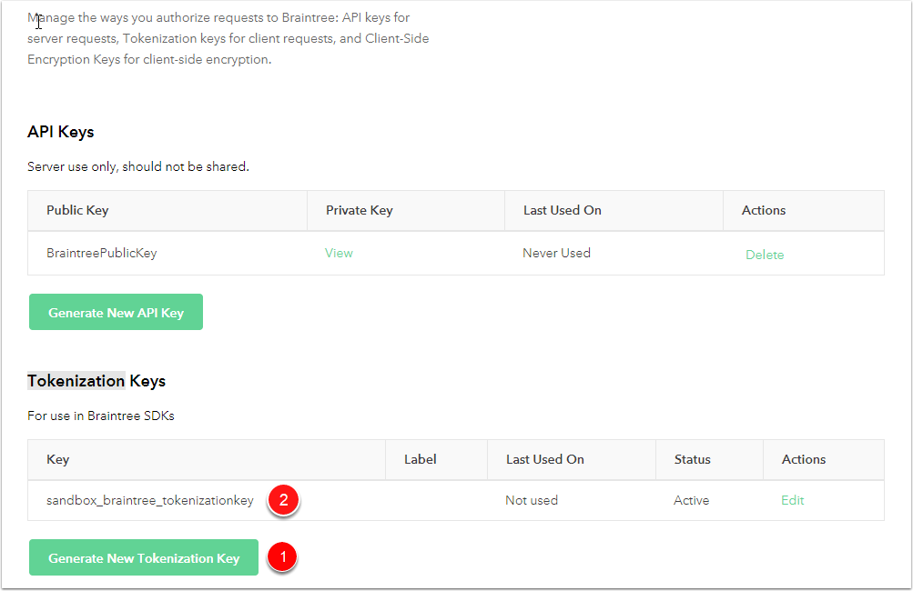 Braintree Generate Token