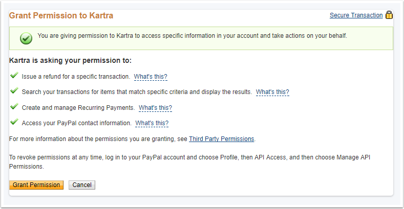 Integrations Payment Gateway Paypal Permissions